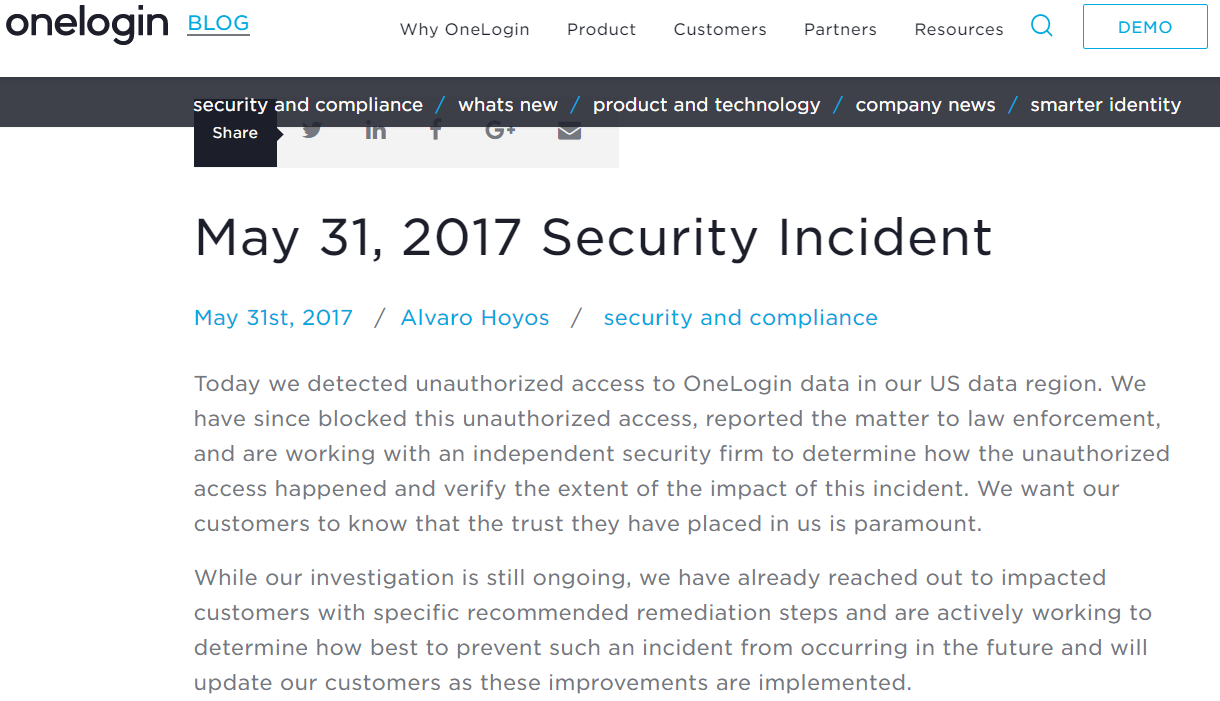 OneLogin security breach
